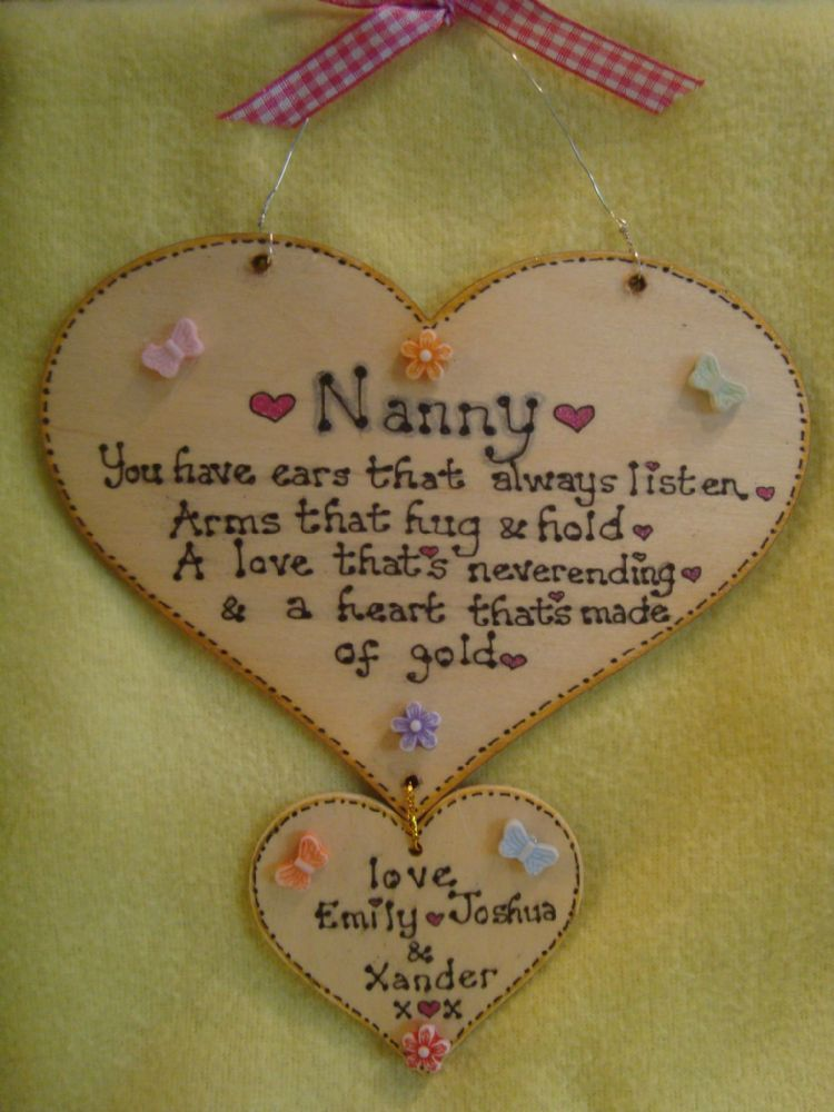 Personalised 2 Heart Nanny Ears That Always Listen Arms